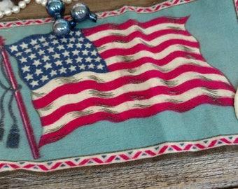 Antique American Flag 48 Star Tobacco Silk From Nebo Cigarettes - Vintage Collectible Historical Patriotic Memorabilia, Tobacco Advertising