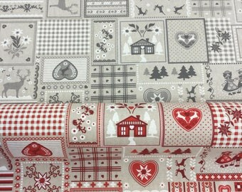 Scandi Christmas linen effect 100% Cotton Fabric by the Metre in red or grey