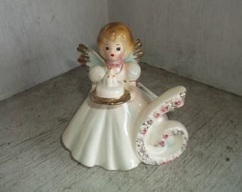 "Josef Original 6th 6 Birthday Girl Holding Birthday Cake Figurine 4"" White Dress"