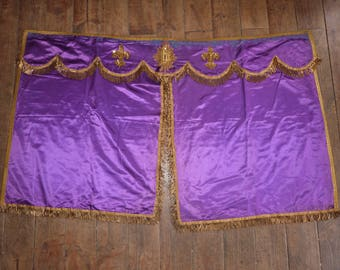 Antique tabernacle curtain shrine altar frontal cloth antependium blessed sacrament canopy veil w gold thread sequin French religious church