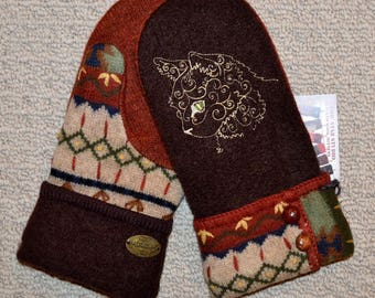 Wool Mittens Handmade recycled upcycled wool sweater, Fleece Lined, Kitty Cat Embroidered, Patchwork