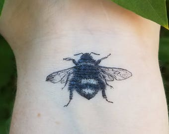 Vintage Temporary Bee Tattoo Set of 3 Queen Bee Bees Nature Tattoo