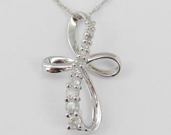 "Pretty Diamond CROSS Pendant Necklace Religious Charm 18"" White Gold Chain"