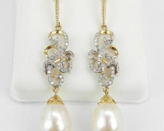 Pearl and Diamond Dangle Drop Earrings 14K Yellow Gold June Birthstone Wedding