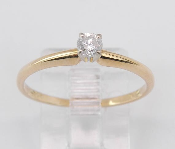 Solitaire Diamond Engagement Ring 14K Yellow Gold Round Brilliant Size 7.5