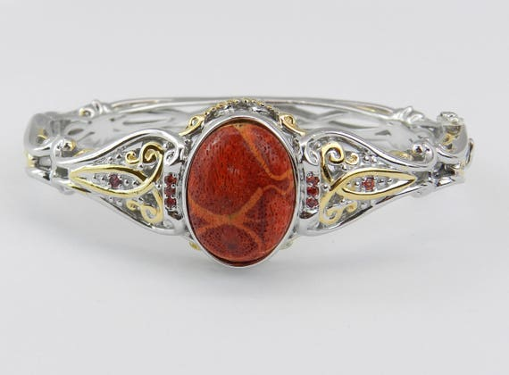 Sterling Silver Coral and Orange Sapphire Bangle Bracelet Unique Gift