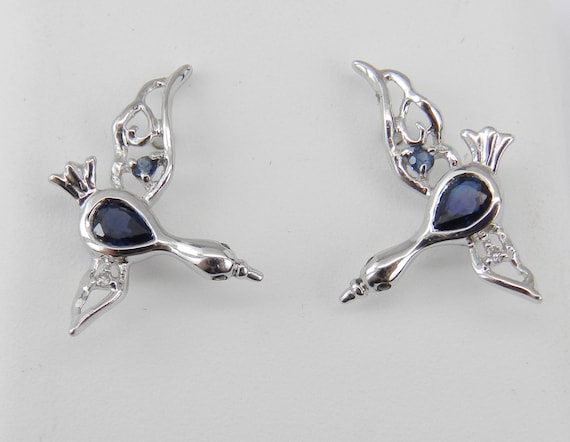 Sapphire and Diamond Earrings Geese Bird Duck Stork Unique Gift 14K White Gold
