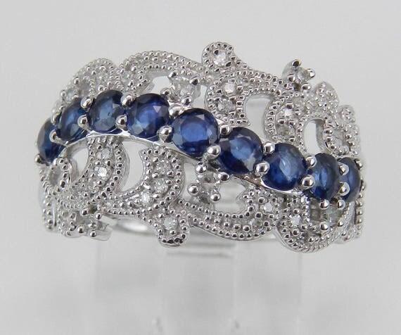 Diamond and Sapphire Wedding Ring Anniversary Band 14K White Gold Size 7 September Birthstone