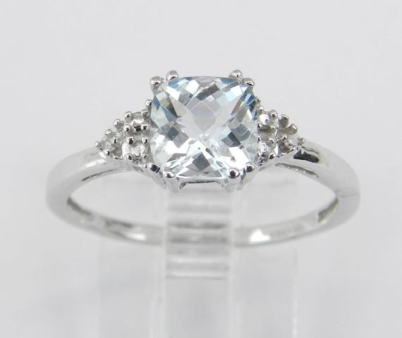 Diamond and Cushion Cut Aquamarine Engagement Ring March Aqua White Gold Size 7