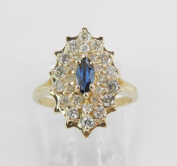 Vintage 14K Yellow Gold Diamond and Sapphire Cluster Cocktail Ring Size 5.25
