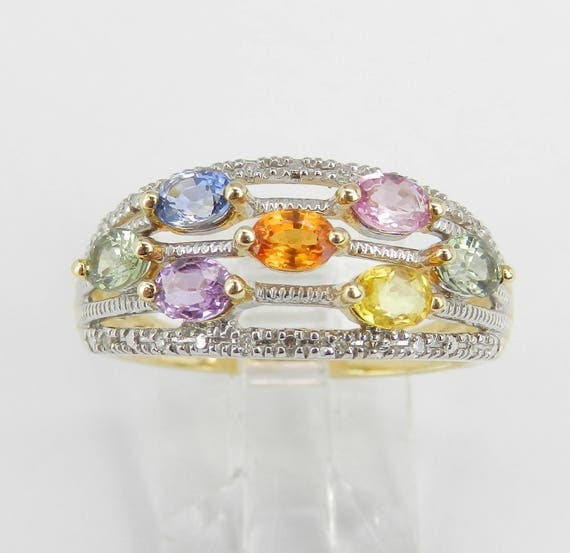 Multi Color Sapphire and Diamond Wedding Ring Anniversary Band 14K Yellow Gold Size 8 Pink Blue Green Orange
