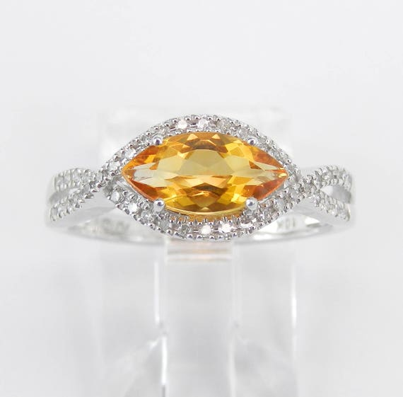 Diamond and Marquise Citrine Halo Engagement Promise Ring White Gold Size 7