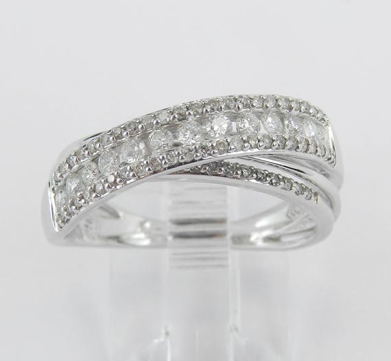 Diamond Wedding Ring Anniversary Band Crossover Ring White Gold Size 7.25