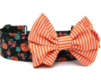 Dog Collar Bow Add-On Halloween Bow for Dogs Matching Dog Bow Dog Collar Orange Dog Bow Girl Dog Bow