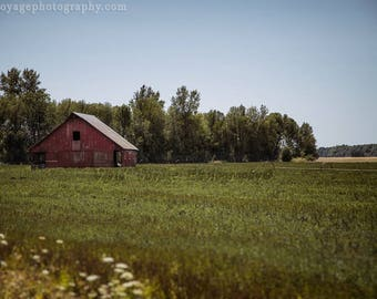 Barn Photograph, Country Landscape, Farmhouse Decor, Farm Field, Country Photography, Western Wall Art, Red Barn Photo, Rustic Home Decor