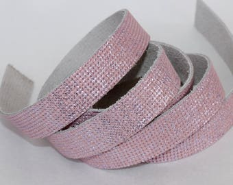 15mm Light Pink  Leather Strap, Metallic Genuine Genuine Leather 1 Yard
