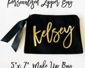 "Custom Make Up Bag 5""x7"" small zipper wallet Personlized cosmetic case black tote bag"
