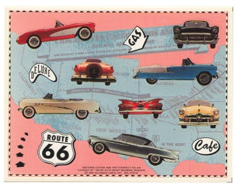 Vintage 80's HALLMARK Stickers Sheet ~ 1950s Route 66 Classic Cars Ford Chevrolet Bel Air Vacation Road Trip Fifties