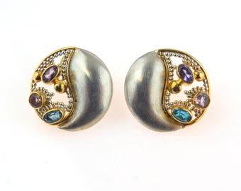 Studio Made Post Modern Sterling Earrings   Topaz Amethyst Citrine