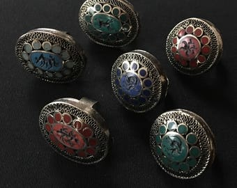 Wholesale Lot of 6 KUCHI Tribal Carved Large RINGS KB2 Theater Belly Dance Costume Jewelry Uber Kuchi®