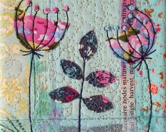 Vintage fabric collage delicate pretty embroidery block original art