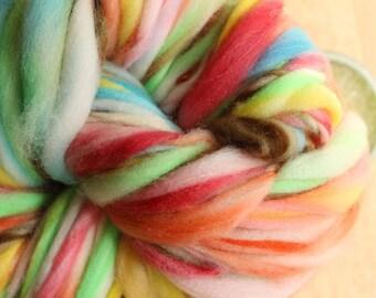 Smarties - Handspun Superwash Merino Wool Yarn Rainbow Thick and Thin Skein