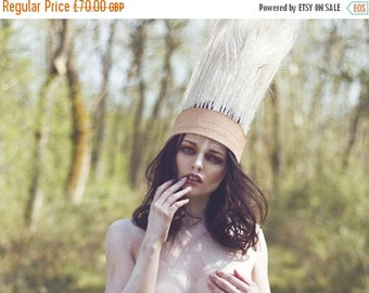 Sale White peacock costume headpiece, feather headdress, costume headdress,  showgirl headpiece,  vintage crown, stamped leather