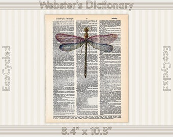 Dragonfly 1 on Vintage Upcycled Dictionary Art Print Book Art Print Insect Illustration bookworm gift book lover art dragonfly art print