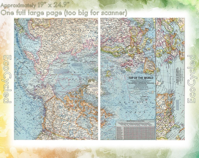 Vintage Atlas Map 1960 Top of the World North Pole National Geographic Map antique full color Map Paper Ephemera Historical 19 x 25 Inch NG2