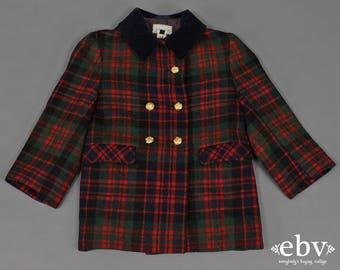 Vintage Neiman Marcus Plaid Wool Coat Kid's Vintage Children's Vintage Toddler Vintage Vintage Wool Coat Military Coat Toddler Coat 4T 4
