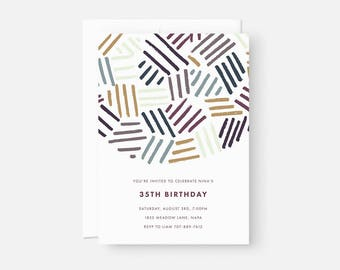 Adult Birthday Invitation / Minimalist Modern Invitations / Modern Party Invite / Colorful Pattern / Coed Baby Shower, Graduation Party