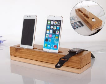 Dual iPhone dock + Apple watch dock / wooden iPhone charging station / dual dock / handmade from oak and maple