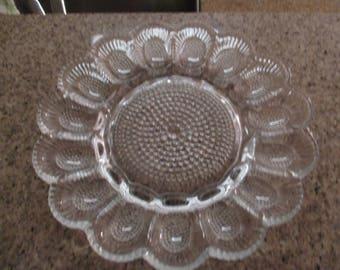 Vintage Pressed Glass Deviled Egg Serving Platter