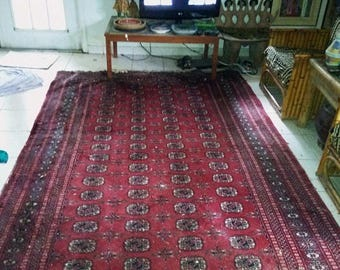 BIG SUMMER SALE 80s Vintage Wool Bokhara Rug-12'x8'-Handmade Carpet