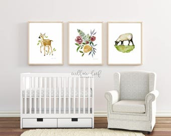 Baby Farmhouse Trio, 3 prints, Lamb Print, Sheep Print, Sheep Art, Easter,  Watercolor Print, Wall Art, Nursery Art