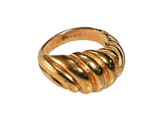 Gold Cable Style Dome Statement Ring, 18kt Gold Plated, Ring Size 5