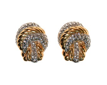 Vintage Nolan Miller Gold Knot and Pave Rhinestone Earrings, Clip On, Designer, 1980s