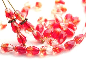 7x5mm Mixed Red teardrop beads, Red and crystal clear czech glass pear beads, fire polished, 40pc - 2076