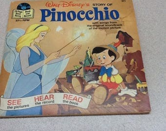 Walt Disney's Story of Pinocchio Book and Record