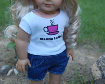 Sale/2 piece/American Girl Doll inspired clothing/18- inch doll clothes/Fits AG dolls/doll shorts/doll tee