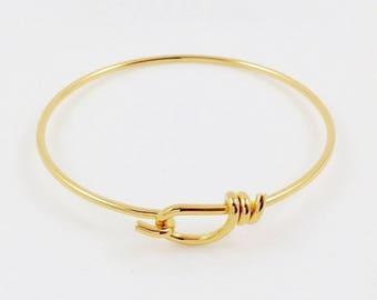 Gold Bracelet, Wire Bracelet, Charm Bracelet, Brass Bangle, Round Bracelet, Bangle Bracelet, 60mm - 1 pc. (gd0301)