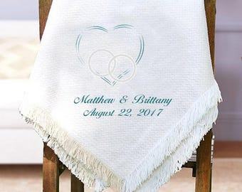 Embroidered Wedding Afghan, Wedding Throw Blanket, Wedding Keepsake Gift