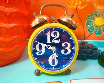 Vintage 1970s MID Century Modern Yellow Blue MOD Retro Metal Florn West Germany Alarm Clock