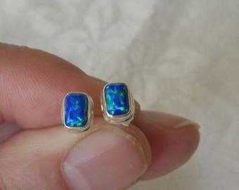 Opal Earrings Flashy Handmade Australian 7x5mm Fire Opal Gemstone Earrings Sterling Silver Earrings Take 20% Off Women's Blue Opal Jewelry