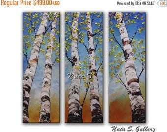 "Summer SALE Birch Tree Painting Triptych Wall Art Original Landscape Painting Palette Knife Home Decor Interior Decor Large Artwork 36"" x 36"