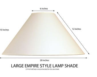 Empire lamp shade, Coolie lamp shade, large lamp shade, white fabric lamp shade