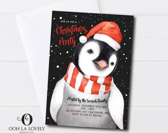 Penguin Christmas Party Invitation, Holiday Open House, Holiday Party, Children's Party, Printable, Red, Printed, Snow