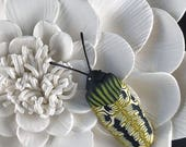Wall Art Tile Sculpture Flower Whimsical Yellow Black Beetle Bug Insect Polymer Clay 436