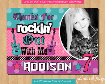 birthday thank you cards Rockstar Invitation Rockstar Birthday Rockstar Party Rock Star Birthday Rock star invitations Rock star party Photo