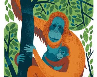"""Orangutans!!! 11X17"""" print"""